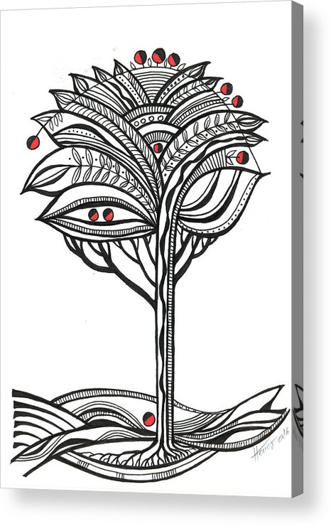 Abstract Acrylic Print featuring the drawing The apple tree by Aniko Hencz