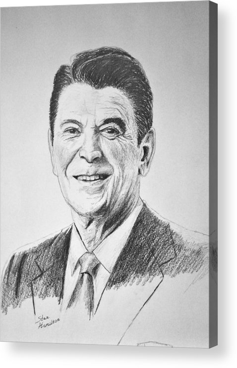 Pencil Acrylic Print featuring the drawing The Gipper by Stan Hamilton