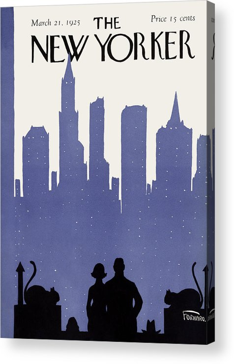 Skyline Acrylic Print featuring the painting New Yorker March 21st, 1925 by Carl Fornaro