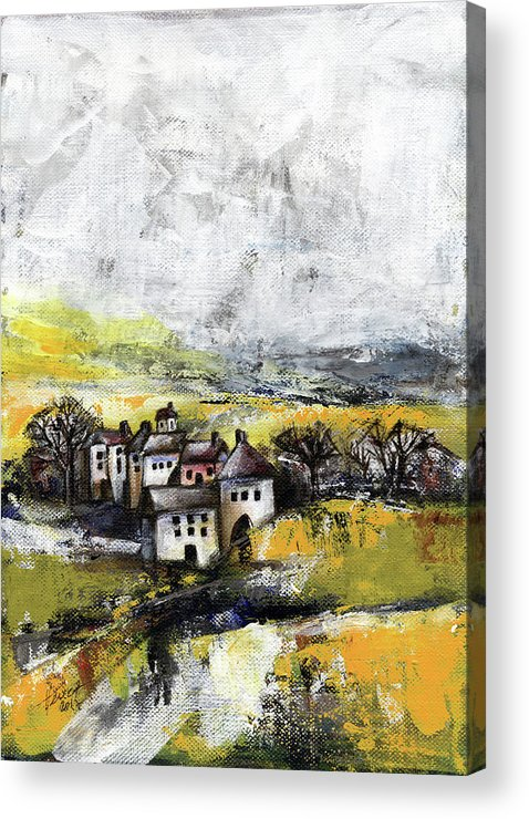 Landscape Acrylic Print featuring the painting The pink house by Aniko Hencz