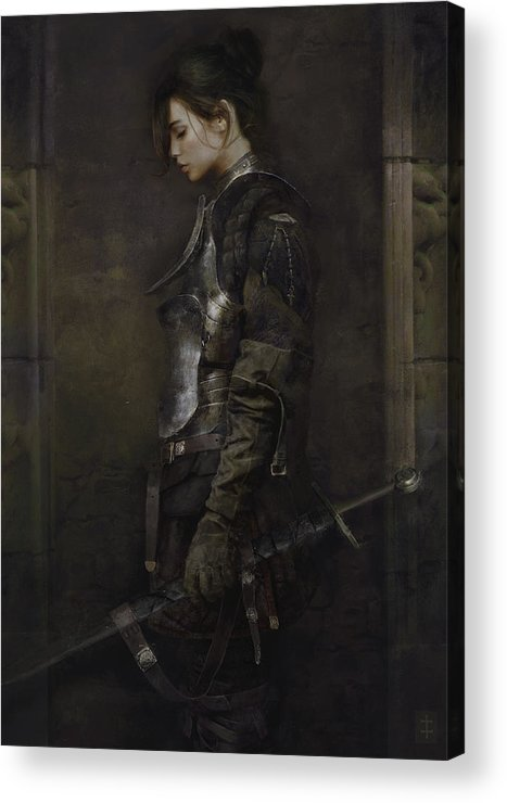 Warrioress Acrylic Print featuring the painting The Squire by Eve Ventrue