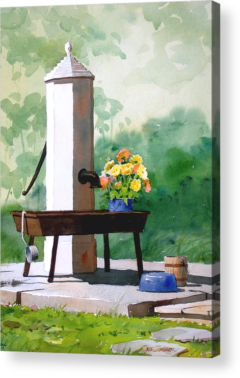 Antique.pump Acrylic Print featuring the painting The Waterworks by Faye Ziegler