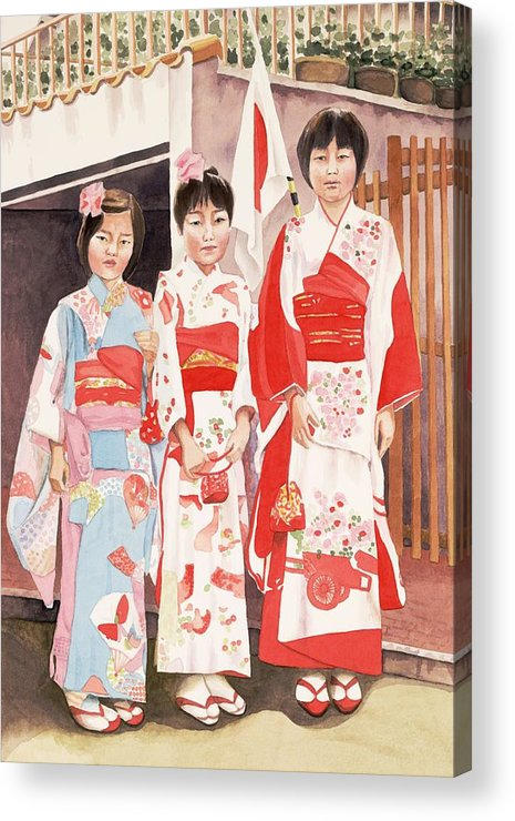 Three Japanese Girls In Kimono Acrylic Print featuring the painting Three sisters by Judy Swerlick