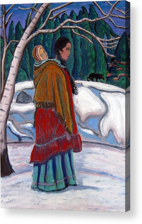 Native American Acrylic Print featuring the painting Through The Snow by Susan Stewart
