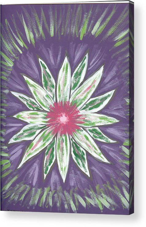 Flower Acrylic Print featuring the painting Through The Twilight by Laura Lillo