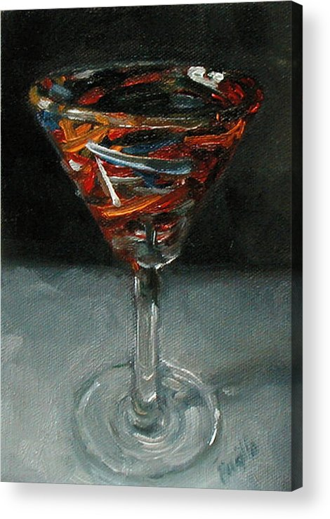 Still Life Acrylic Print featuring the painting 'Tini Glass by Kathy Busillo