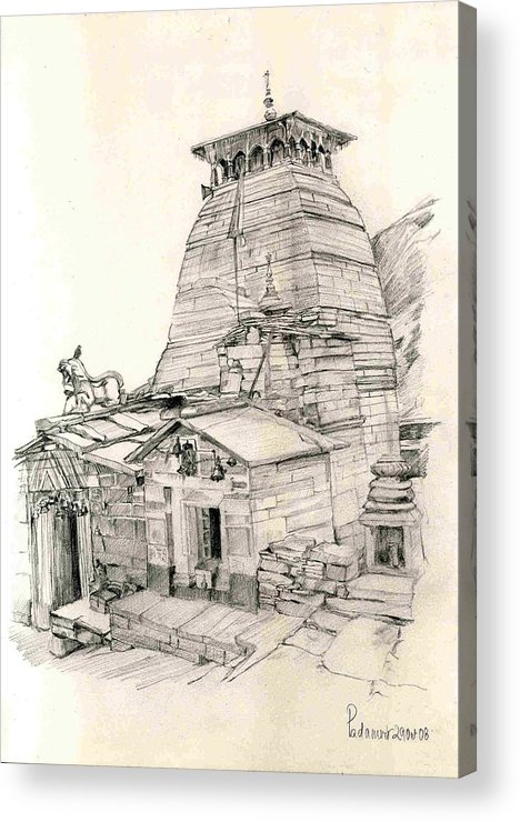 Landscape Acrylic Print featuring the painting Tungnath by Padamvir Singh