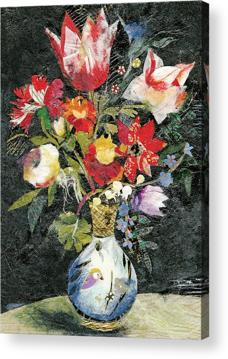Limited Edition Prints Acrylic Print featuring the painting Vase with a bird by Nira Schwartz