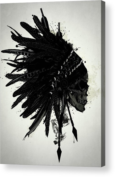 Indian Acrylic Print featuring the digital art Warbonnet Skull by Nicklas Gustafsson