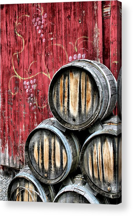 Wine Acrylic Print featuring the photograph Wine Barrels by Doug Hockman Photography