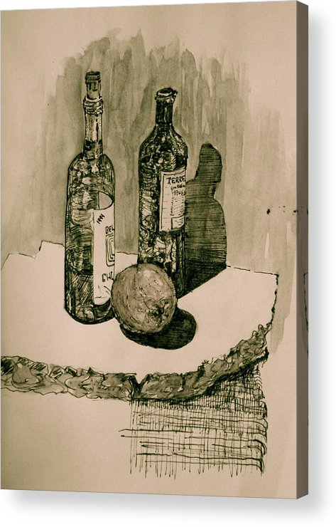 Landscape Acrylic Print featuring the drawing Wine on the Rock by Dan Earle