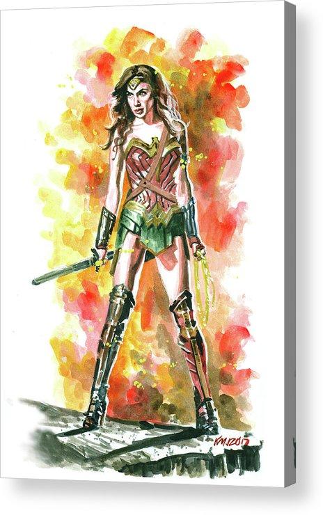 Wonder Woman Acrylic Print featuring the painting Wonder Woman by Ken Meyer jr