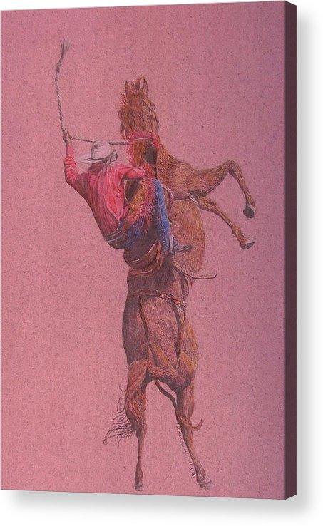 Rodeo Acrylic Print featuring the drawing Yaa Hoooo by Dan Hausel