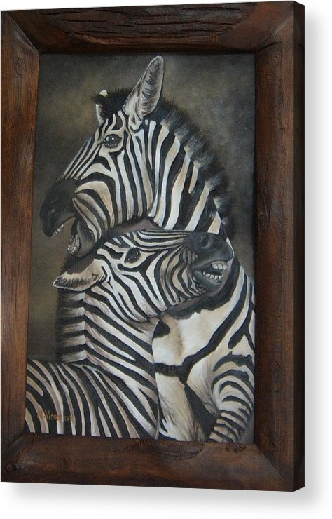 Zebras Acrylic Print featuring the painting Zebras by Nellie Visser