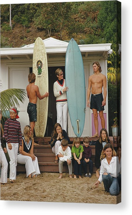 Laguna Beach Acrylic Print featuring the photograph Laguna Beach Surfers by Slim Aarons