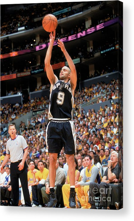 Nba Pro Basketball Acrylic Print featuring the photograph Spurs V Lakers by Andrew D. Bernstein