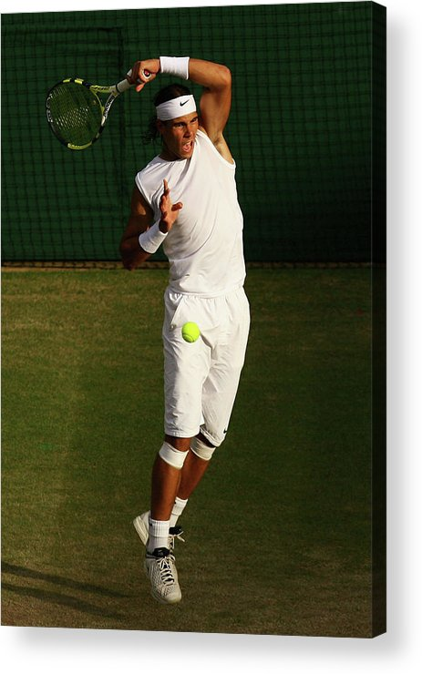 Rafael Nadal Acrylic Print featuring the photograph The Championships - Wimbledon 2008 Day by Ian Walton