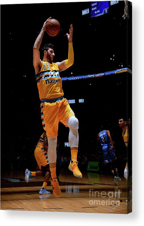 Jusuf Nurkić Acrylic Print featuring the photograph Oklahoma City Thunder V Denver Nuggets by Bart Young