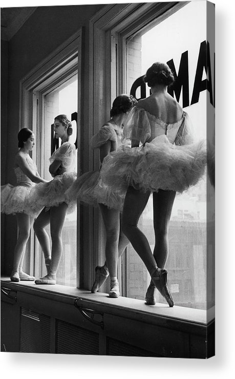 Ballet Dancer Acrylic Print featuring the photograph Ballerinas Standing On Window Sill In by Alfred Eisenstaedt