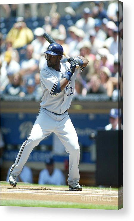 Tony Gwynn Jr. Acrylic Print featuring the photograph Milwaukee Brewers V San Diego Padres by Rob Leiter