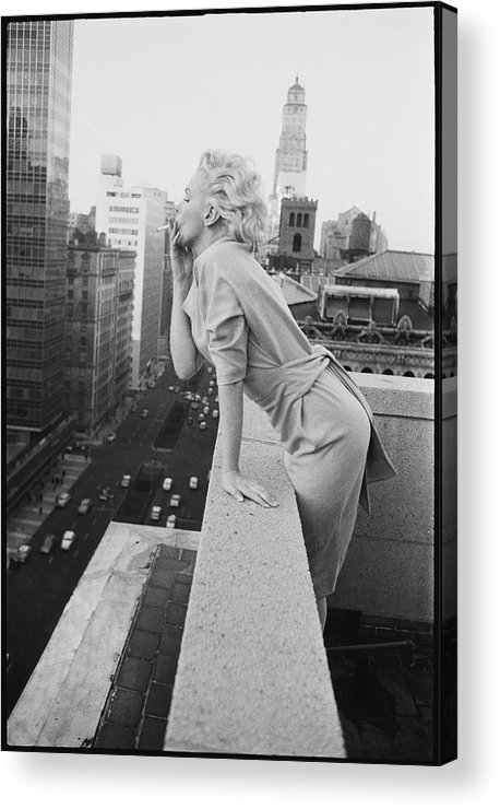 Smoking Acrylic Print featuring the photograph Marilyn On The Roof by Michael Ochs Archives