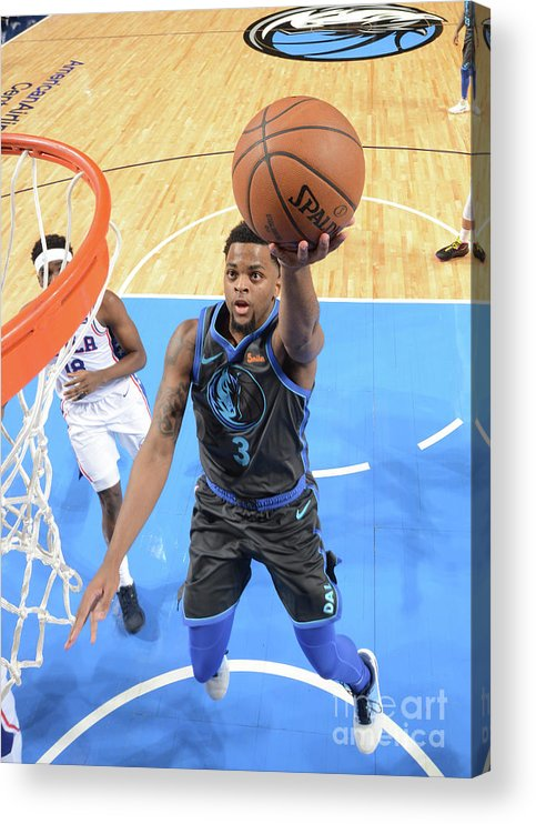 Nba Pro Basketball Acrylic Print featuring the photograph Philadelphia 76ers V Dallas Mavericks by Glenn James