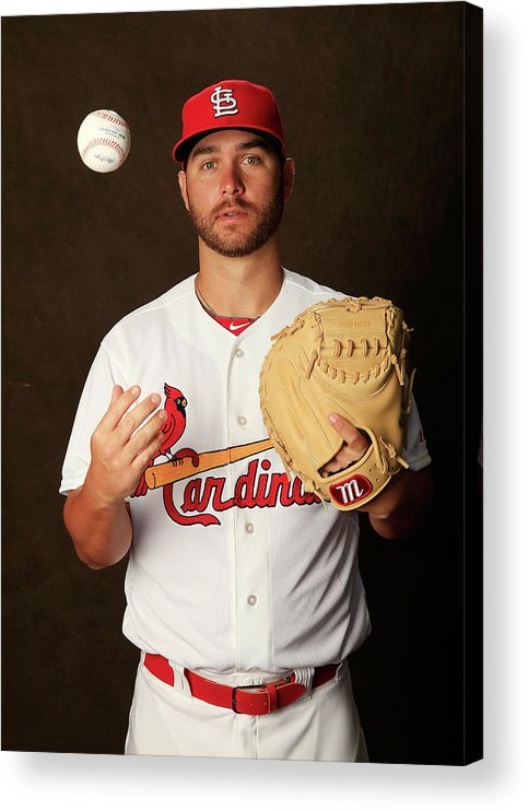 Media Day Acrylic Print featuring the photograph St. Louis Cardinals Photo Day by Rob Carr