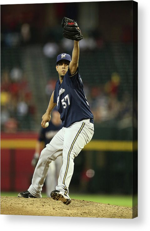 Relief Pitcher Acrylic Print featuring the photograph Milwaukee Brewers V Arizona Diamondbacks by Christian Petersen