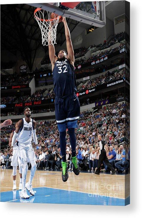 Nba Pro Basketball Acrylic Print featuring the photograph Minnesota Timberwolves V Dallas by Glenn James
