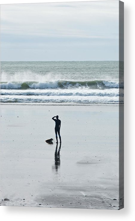 Young Men Acrylic Print featuring the photograph A Surfer Watches The Waves Before by Mark Marchesi