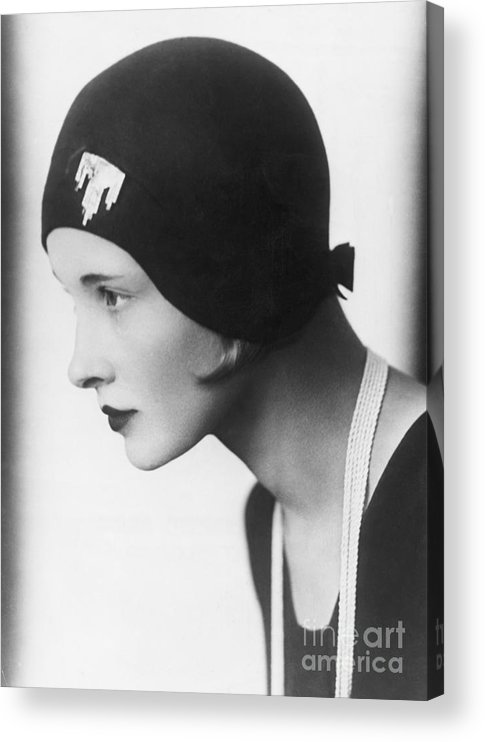 People Acrylic Print featuring the photograph A Woman Modeling A Cloche by Bettmann