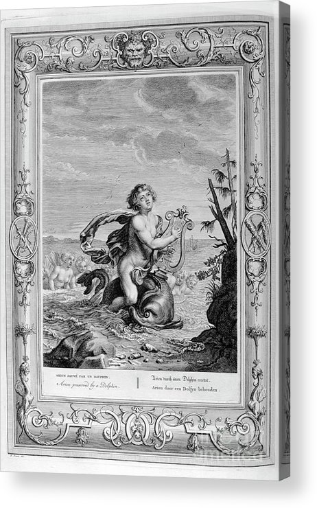 Singer Acrylic Print featuring the drawing Arion Saved By A Dolphin, 1733. Artist by Print Collector