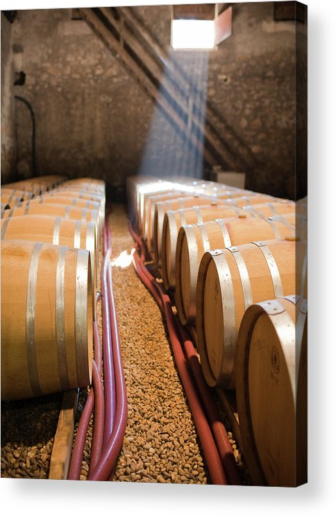 Alcohol Acrylic Print featuring the photograph Barrels In Wine Cellar by Johner Images