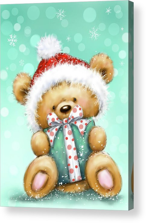 Bear With Green Presnt Acrylic Print featuring the mixed media Bear With Green Presnt by Makiko
