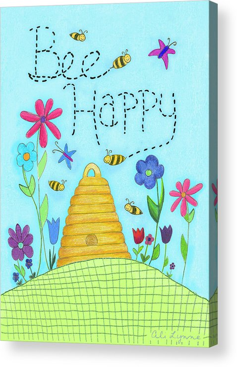Bee Acrylic Print featuring the photograph Bee Happy by Ali Lynne
