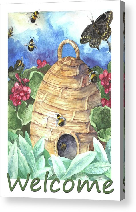 Beehive Acrylic Print featuring the painting Beehive Welcome by Melinda Hipsher