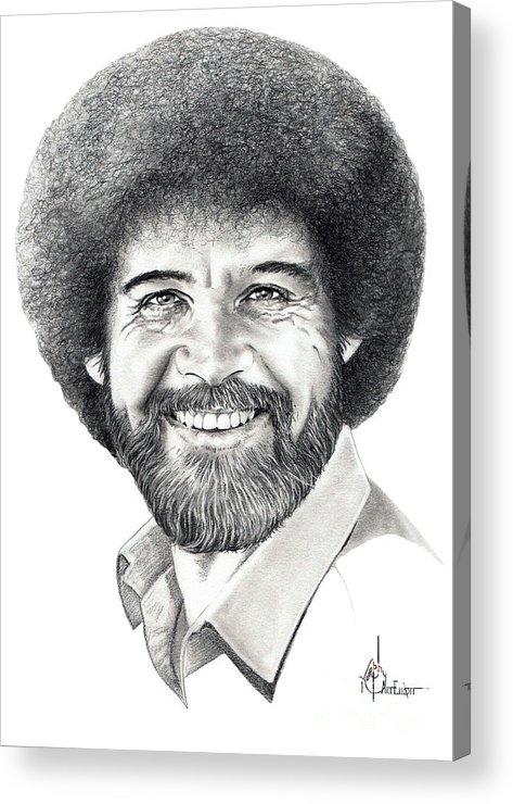 Pencil Acrylic Print featuring the drawing Bob Ross by Murphy Elliott