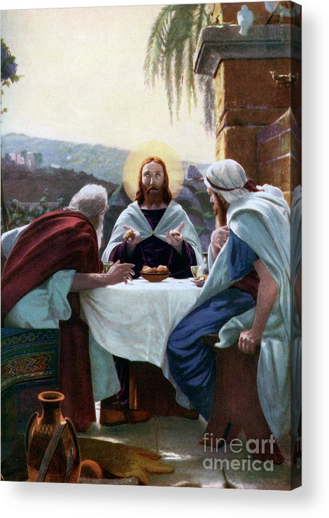 West Bank Acrylic Print featuring the drawing Breaking Of Bread At Emmaus, 1926 by Print Collector