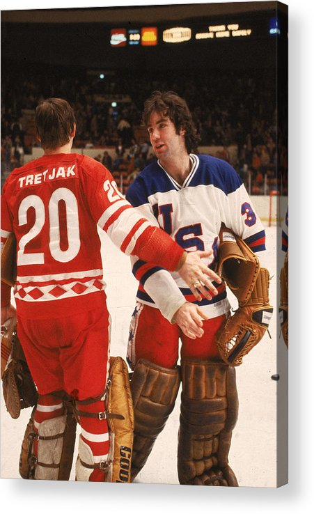 1980-1989 Acrylic Print featuring the photograph Cccp Beats Us Rivals In Exhibition Game by B Bennett