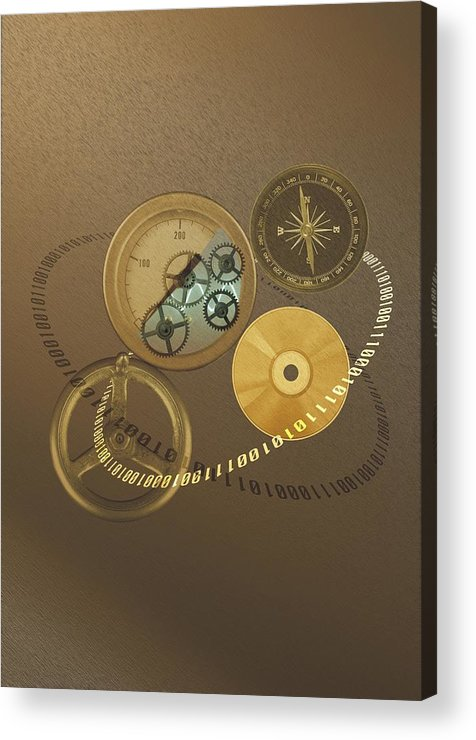 The Media Acrylic Print featuring the photograph Circular Objects And Binary Code, Cg by Daj