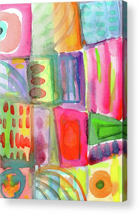 Colorful Acrylic Print featuring the painting Colorful Patchwork 2- Art by Linda Woods by Linda Woods
