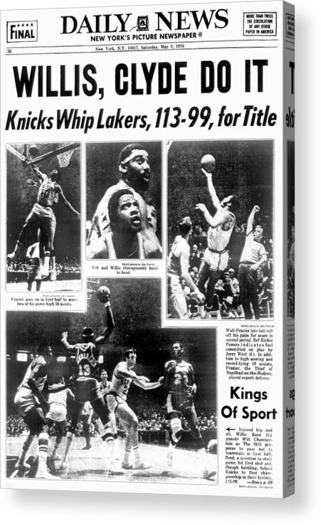 Nba Pro Basketball Acrylic Print featuring the photograph Daily News Back Page Dated May 9, 1970 by New York Daily News Archive
