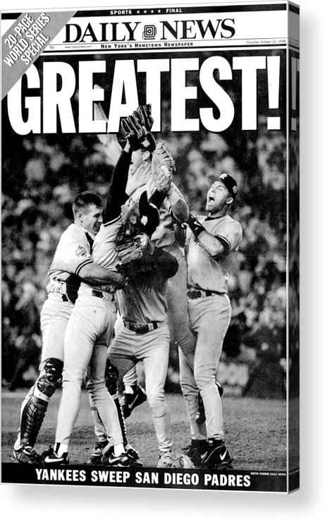 American League Baseball Acrylic Print featuring the photograph Daily News Front Page Wrap Dated Oct by New York Daily News Archive