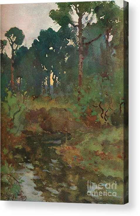 England Acrylic Print featuring the drawing Decorative Landscape Study, C.1903 by Print Collector