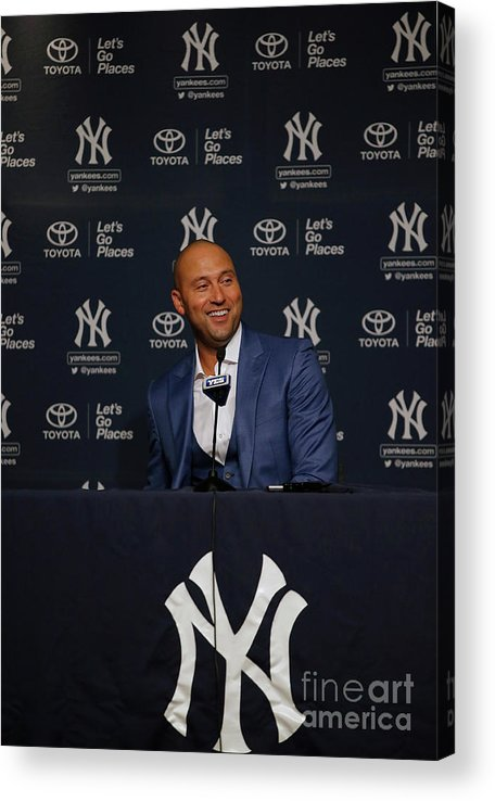 People Acrylic Print featuring the photograph Derek Jeter Ceremony by Rich Schultz