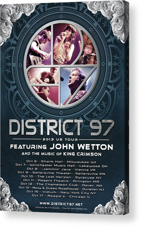 Acrylic Print featuring the digital art District 97/John Wetton US Tour by District 97