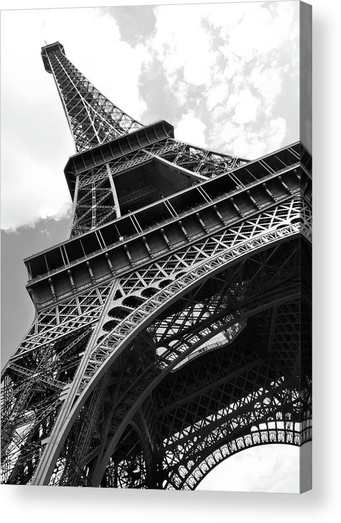 Black Color Acrylic Print featuring the photograph Eiffel Tower In Black And White by Sarah8000