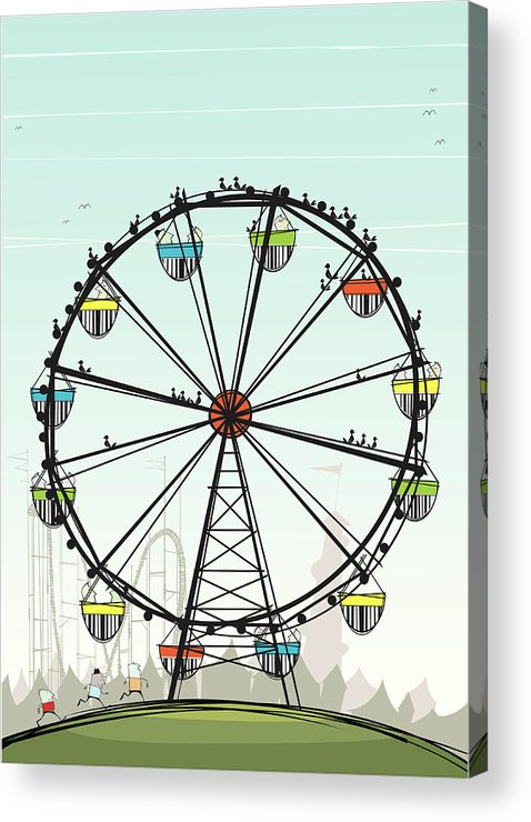 Grass Acrylic Print featuring the digital art Ferris Wheel by Jcgwakefield