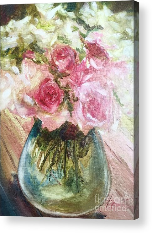 Flowers Acrylic Print featuring the painting For My Friend Jack, Friendship by Lizzy Forrester