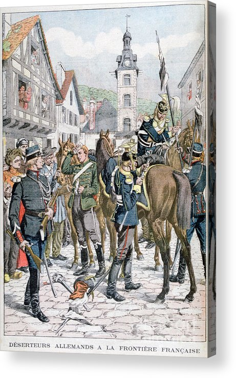 Horse Acrylic Print featuring the drawing German Deserters At The French by Print Collector
